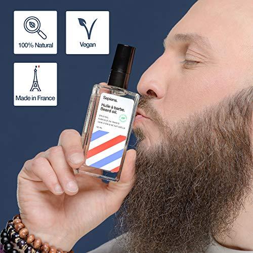 Huile a barbe par sapiens barbershop 50ml fabriquee en france 100 dingredients dorigine naturelle enrichie en huile de ricin hydrate et favorise la pousse de la barbe cedre agrumes 0 0