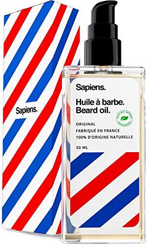 Huile a barbe par sapiens barbershop 50ml fabriquee en france 100 dingredients dorigine naturelle enrichie en huile de ricin hydrate et favorise la pousse de la barbe cedre agrumes 0