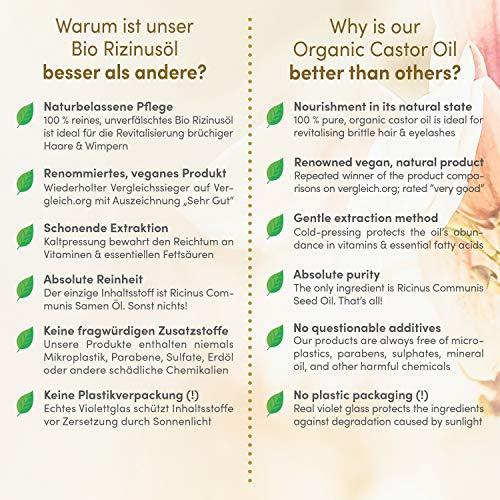Huile de ricin bio vegan pressee a froid pour cils visage cheveux et des ongles bouteille en verre anti lumiere 200 ml 100 pure et naturelle cosmetiques satin naturel 0 1