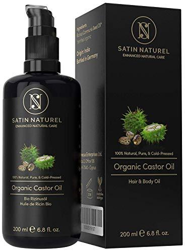 Huile de ricin bio vegan pressee a froid pour cils visage cheveux et des ongles bouteille en verre anti lumiere 200 ml 100 pure et naturelle cosmetiques satin naturel 0